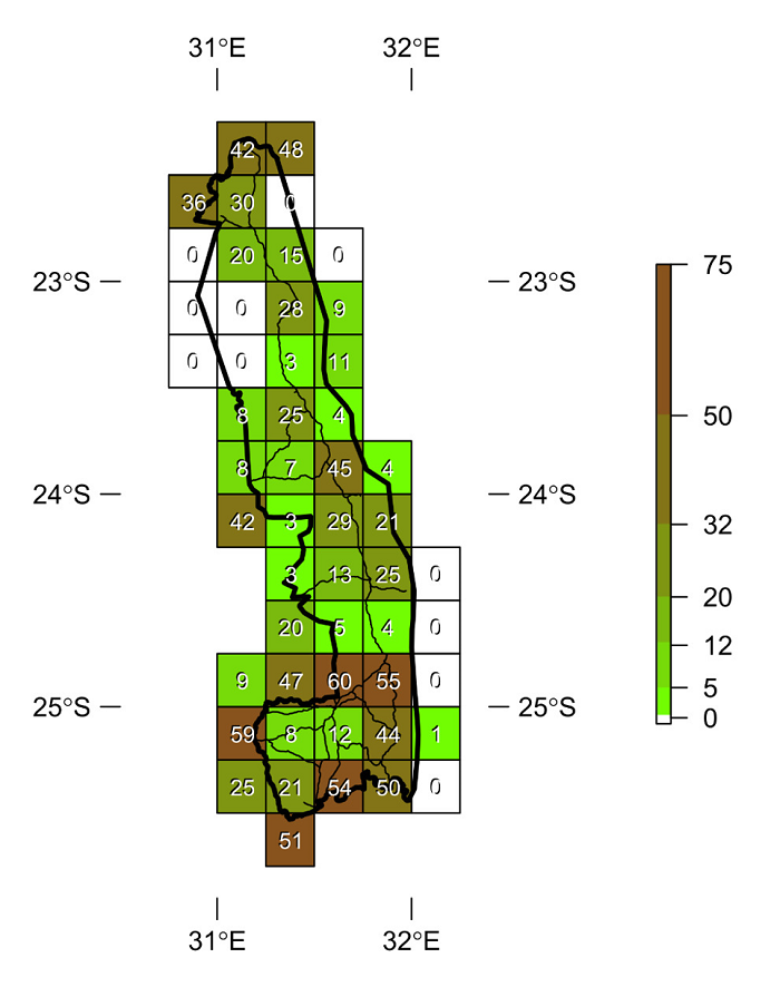Figure 3. Species richness of the Odonata (dragonflies and damselflies) in the Quarter Degree Grid Cells (QDGC) which intersect with the Kruger National Park. Refer to Figure 2 and Table 1 for the naming conventions of each QDGC.