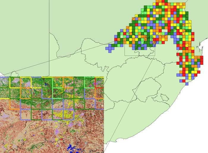 Figure 8. Range-change map between SABAP1 and SABAP2 for the crested francolin downloaded 19 May 2017. Red, orange and yellow represent quarter-degree grid cells with very large, large, and small relative decreases and blue, dark green and light green represent grid cells with very large, large and small relative increases. A count of the number of grid cells in each category is provided in Table 2. Only grid cells with at least four checklists in both SABAP1 and SABAP2 are shown. More detailed information on the interpretation of this range-change map is provided in Underhill & Brooks (2016b). Inset map shows underlying land cover classes (GeoTerra Image 2015) of an area where widespread and large (greenbordered cells) to very large (blue-bordered cells) increases in crested francolin occurred. Sandcoloured areas are grassland, coral to brown-coloured areas are cultivated commercial fields, green areas are woodland and yellow and purple are depicted as urban areas.