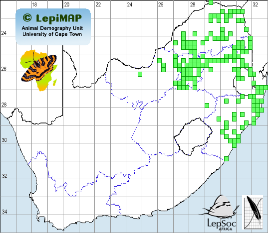 Distribution map of Two-pip Policeman 1960 to 2013