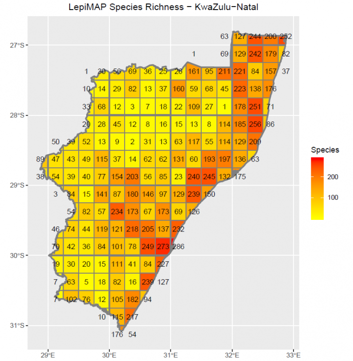 Species richness for butterflies in each quarter degree grid cell in KwaZulu-Natal