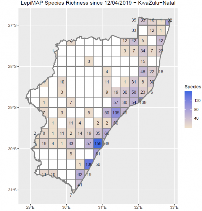 Number of species of butterflies recorded in each quarter degree grid cell in KwaZulu-Natal in the year since 1 April 2019